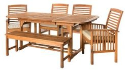6-Piece Acacia Wood Outdoor Patio Dining Set with Cushions - Brown