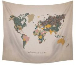 """""""Adventure Await"""" Map Wall Tapestry"""