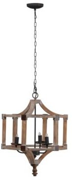 Andreas Wood And Iron Round Chandelier