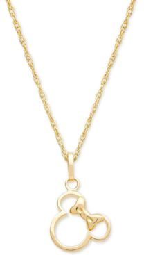 """Children's Minnie Mouse Silhouette 15"""" Pendant Necklace in 14k Gold"""