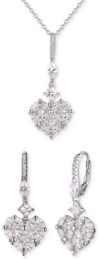 2-Pc. Set Cubic Zirconia Heart Pendant Necklace & Matching Drop Earrings in Sterling Silver