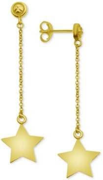 Polished Star Drop Earrings in Gold-Plate