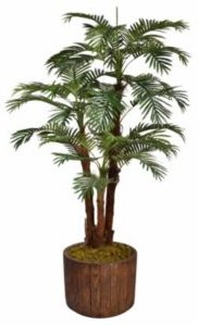 """71"""" Tall Palm Tree Artificial Decorative Faux with Burlap Kit In 12.8"""" Brown Wood-like Fiberstone Planter"""