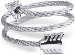 White Topaz Arrow Wrap Ring (1/10 ct. t.w.) in Stainless Steel and Sterling Silver