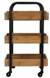 Portable Storage Cart with 3 Easy Removable Bamboo Trays