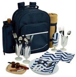 Deluxe 4 Person Picnic Backpack Cooler, Wine Pouch and Blanket