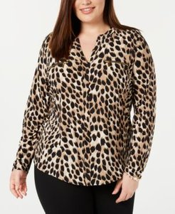 Inc Plus Size Animal-Print Top, Created for Macy's