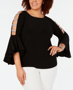 Plus Size Embellished Bell-Sleeve Top