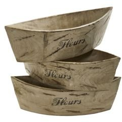 White Washed Wood Planter - Set of 3