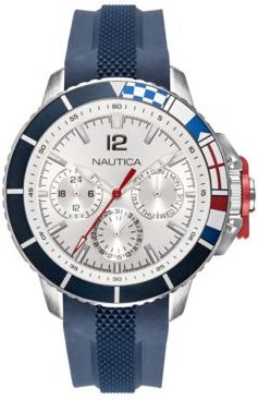 NAPBHP903 Bay Ho Multifunction Navy/Silver/Black Silicone Strap Watch