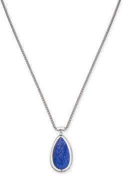 """Silver-Tone Blue Teardrop Pendant Necklace, 36"""" + 3"""" extender, Created for Macy's"""