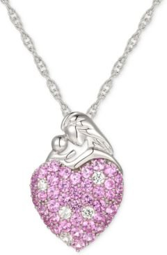 """Pink Sapphire (1-1/3 ct. t.w.) & Diamond (1/8 ct. t.w.) Mother 18"""" Pendant in Sterling Silver"""