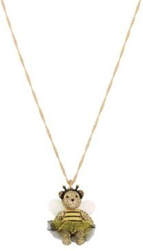 Bumble Bee Pave Bear Pendant Long Necklace