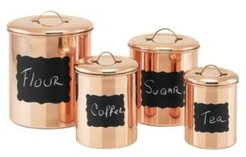 International Copper Chalkboard Canister Set with Fresh Seal Covers, Set of 4