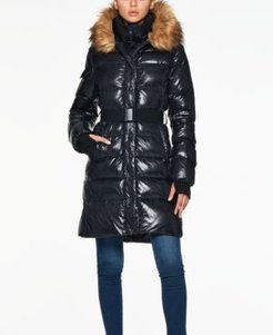 Chalet Belted Faux-Fur-Trim Hooded Down Coat