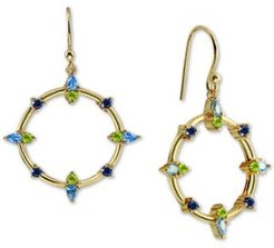 Cubic Zirconia Circle Drop Earrings in 18k Gold-Plated Sterling Silver