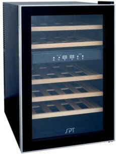 Spt 24-Bottle Dual-Zone Thermo-Electric Wine Cooler W/Wooden Shelves