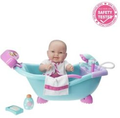 """Jc Toys, Lots to Love Babies Doll Real Working Bathtub with Electronic Bath Sounds All Vinyl Water Friendly 14"""" Posable Doll - For Children 2 Years and older, Designed by Berenguer"""
