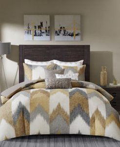 Alpine King/Cal King Cotton Printed Duvet Cover Mini Set Yellow Bedding