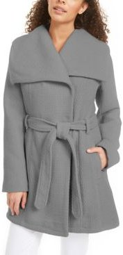 Juniors' Asymmetrical Belted Wrap Coat