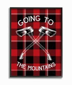 """Going To the Mountains Axes and Plaid Framed Giclee Art, 11"""" x 14"""""""