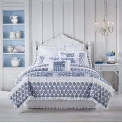 Tessa Navy Queen 4pc. Comforter Set Bedding