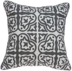 Heera Traditional Grey and White Pillow Cover With Down Insert