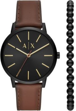 Cayde Brown Leather Strap Watch 42mm Gift Set
