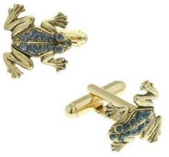 1928 Jewelry 14K Gold Plated Crystal Frog Cufflinks