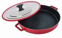 """Stovetop Oven Grill Pan with Heat-In Steam-Out Lid, 12"""""""