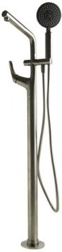 Brushed Nickel Floor Mounted Tub Filler Mixer with additional Hand Held Shower Head Bedding