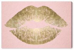 """Solid Kiss Blush and Gold Canvas Art - 16"""" x 24"""" x 1.5"""""""