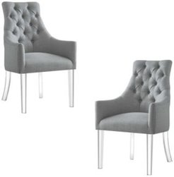 Marilyn Button Tufted Arm Dining Chair with Acrylic Legs Set of 2