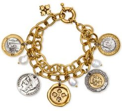 Two-Tone World Coin & Freshwater Pearl (9mm) Double-Chain Charm Bracelet