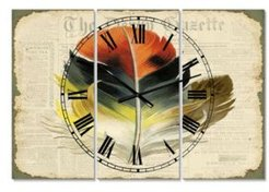 """Colorful Elegant Feather On Old Style Newspaper Iii Oversized Cottage 3 Panels Wall Clock - 38"""" x 38"""" x 1"""""""