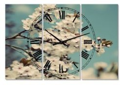 """White Spring Blossom Oversized Cottage 3 Panels Wall Clock - 38"""" x 38"""" x 1"""""""