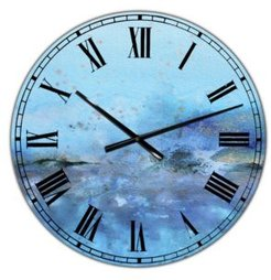 """Blue and Gold Water Impression Large Modern Wall Clock - 38"""" x 38"""" x 1"""""""