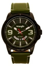 Watch, 48MM Black Ridged Case with Green Zoned Dial, Outer Zone is Milled with White Index Markers, Outer Ring Has is Marked with White, Analog Watch with Red Second Hand and Crescent