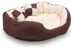 """Durable Bolster Sleeper Oval Pet Bed with Removable Reversible Insert Cushion and Additional Two Pillow, 34""""x27"""" Bedding"""