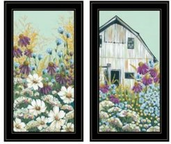 "Floral Field 2-Piece Vignette by Michele Norman, Black Frame, 15"" x 27"""