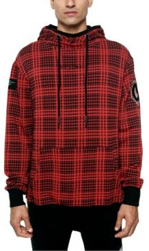 The Red Hood Colorblocked Houndstooth Plaid Patch Hoodie
