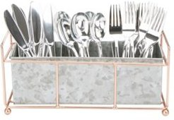 Wire Based and Galvanized 3 Section Utensil Caddy, Multi-Purpose Holder