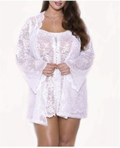 Plus Size Willow Lace Dressy Robe, Online Only