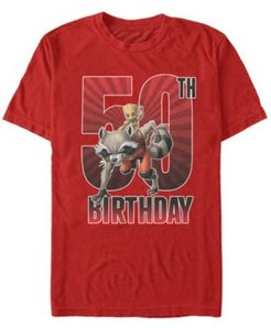 Fifth Sun Men's Marvel Guardians of The Galaxy Rocket and Baby Groot 50th Birthday Short Sleeve T-Shirt