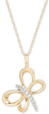 """Diamond Dragonfly 16"""" Pendant Necklace (1/20 ct. t.w.) in 14k Gold"""