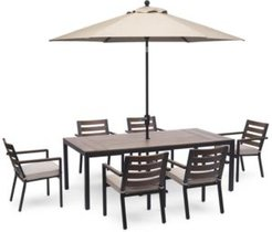 """Stockholm Outdoor Aluminum 7-Pc. Dining Set (84"""" x 42"""" Rectangle Dining Table & 6 Dining Chairs) with Sunbrella Cushions, Created for Macy's"""