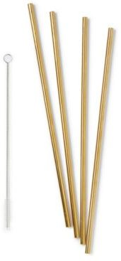 """10"""" Metal Straws, Set of 4 with Cleaner"""