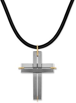 """Two-Tone Leather Cord Cross 24"""" Pendant Necklace in Stainless Steel & 18k Gold"""