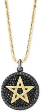 """Effy Men's Star Circular 22"""" Pendant Necklace in Sterling Silver and 18k Gold Over Silver"""