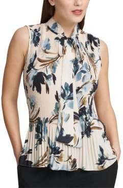 Pleated Floral-Print Sleeveless Blouse